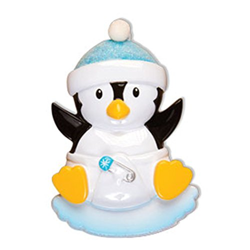 Personalized Baby Penguin Boy Christmas Tree Ornament 2019 - Cute Toddler Black Bird in Glitter Hat Diaper on Ice New Mom Shower Tradition Nursery Gift Year - Free Customization (Blue) ()