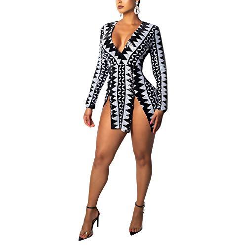 (Womens Sexy Sequin V Neck Long Sleeve Bodycon Party Split Mini Dress White&Black L)