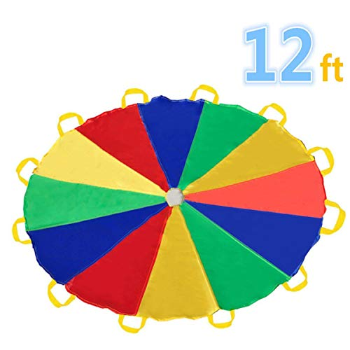 Game Tents - Sonyabecca Parachute 12 Foot for Kids with 12 Handles Play Parachute for 8 12 Kids Tent Cooperative Games Birthday Gift