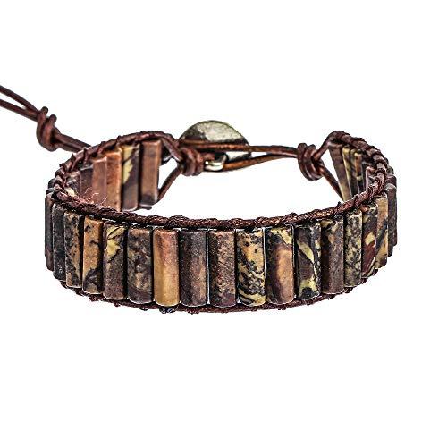 IUNIQUEEN Leather Natural Stone 1 wrap Bead Adjustable Women Girl Bracelet Collection (Dragon Bone Stone)