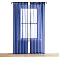 """HLC.ME Royal Blue Sheer Voile Window Treatment Rod Pocket Curtain Panels for Bedroom (54"""" W x 84"""" L, Set of 2)"""