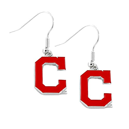 Cleveland Indians Logo Charm - aminco MLB Cleveland Indians Sports Team Logo Dangle Earring