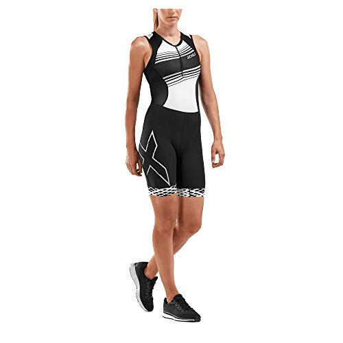 2XU Women's Compression Trisuit (Black/Black White Lines, Small)