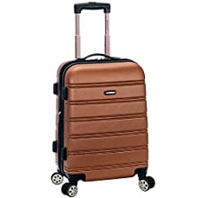 """Rockland Melbourne 20"""" Expandable Abs Carry On, Brown"""