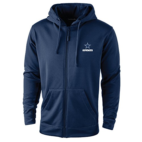Nfl Dallas Cowboys Clothing (Dunbrooke Apparel NFL Dallas cowboys adult Trophy Polyester Tech Fleece Full Zip Hoodie, 2X, Navy)