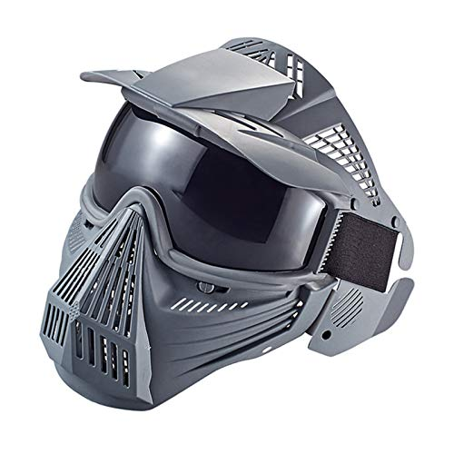 Anyoupin Paintball Mask, Airsoft Mask Full Face with Goggles Impact Resistant for Airsoft BB Hunting CS Game Paintball and Other Outdoor Activities Gray-Gray Lens by Anyoupin