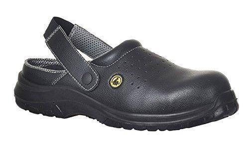 Portwest FC03 - EDS Seguridad Zueco 39/6 SB AE, color Blanco, talla 39 negro (negro)