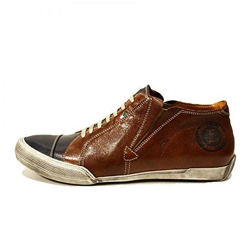 PeppeShoes Modello Emiliano - Cuero Italiano Hecho A Mano Hombre Piel Marrón Zapatos Casuales Sneakers - Cuero Cuero Suave - Ponerse