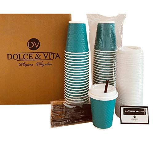 Disposable Coffee & Hot Drink Cups with Lids, Straws & Stirrers | 50 Pack of 12 oz Highly Insulated Double Wall Sturdy Paper Cups, No Sleeve Needed | Perfect for Travel, Home, Parties (Hot Beverage Cup Lid)