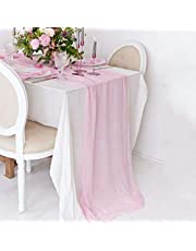 QueenDream Chiffon Table Runner Wedding Party Runner 27x120 Inches Gray for Christmas Candy Table Decoration