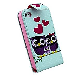 TLB Dust Plug and There Are Three Owls On Branches PU Leather Full Body Case for iPhone 4/4S