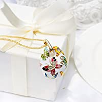 Enamel Multicolored Butterfly Women Jewelry Set Pendant Necklace Earrings With Austrian Crystal Vintage Statement Jewelry