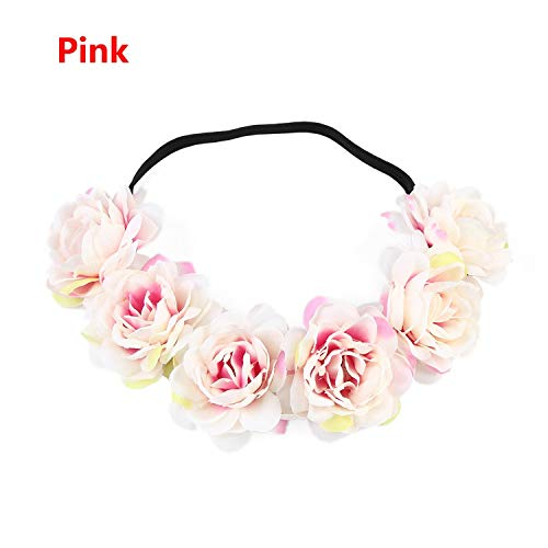 Bohemia Women Beach Wedding Flower Hair Garland Crown Floral Headband Wreath Hairband Hair Accessories,Pink