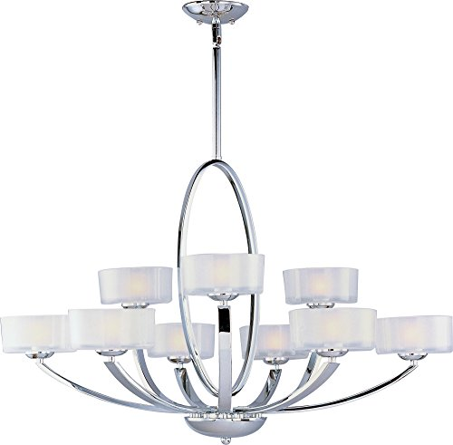 (Maxim 19046FTPC Elle 9-Light Chandelier, Polished Chrome Finish, Frosted Glass, G9 Frost Xenon Xenon Bulb , 100W Max., Dry Safety Rating, Standard Dimmable, Glass Shade Material, 1150 Rated Lumens)
