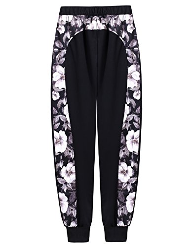 Women's Joggers Pants Floral Printed Patchwork Cuffed Ankle Length Sweatpants (M, (Patchwork Printed)