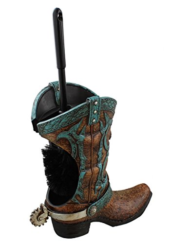 Decorative Cowboy Boot w/ Spur Toilet Bowl Cleaner Brush & Holder - Brushes Boot Decorative