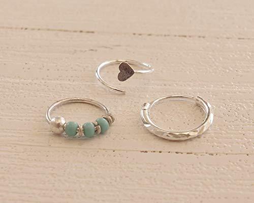 10mm Sterling Silver Hoop Earrings Turquoise and White Beaded Hoops Handmade Hoops