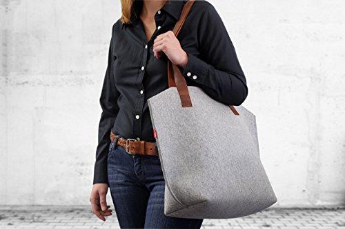Lana Marrone Grigio Bag Feltro In Merino Borsa Pack Germania Pelle
