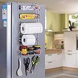 INDIAN DECOR Multi-Layer Refrigerator Broadside Shelf Rack Sidewall Multipurpose Shelf Plastic Wrap Tissue Storage Rack Kitchen Organizer - White Color