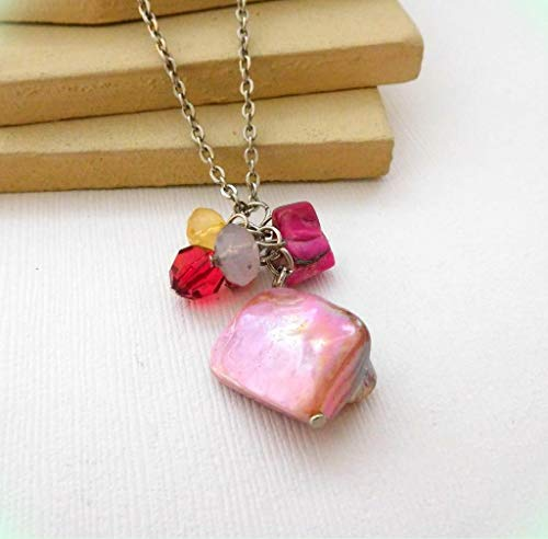 Pink Purple Abalone Shell Bead Charm Pendant Silver Tone Necklace for Women ()