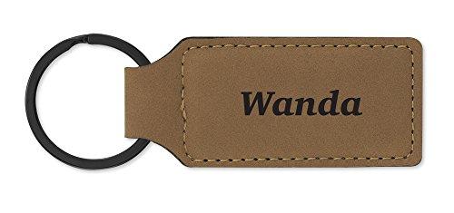 (Leatherette Key Chain Ring Laser Engraved Various Names (Wanda Lt-Brown))