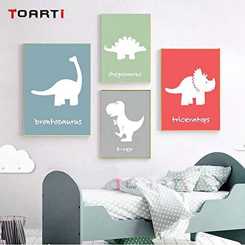 Dinosaur Kid Bedroom Decor Wall Art Prints (Set of 4) - Unframed - 8x10inch ()