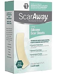 ScarAway Long Silicone Scar Sheets, 6 Long Scar Sheets Per Box (2 Boxes)