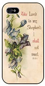 iPhone 5C The Lord is my shepherd. I shall not want - Psalm 23 - black plastic case / Life quotes, inspirational and motivational / Surelock Authentic / Bible verse