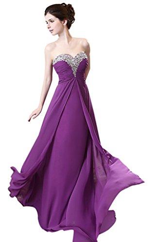 Perlen Kleid formale Trägerlos Damen Chiffon Ball Party Abend Violett drasawee Violett Brautjungfer EnHaqzxqw