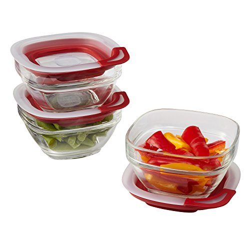 Rubbermaid Easy Find Lid 1-Cup Glass Food Storage Container, 3-Pack (Glass 1)