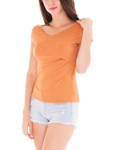 H2H Women's Cross-front V Neck Pullover T-Shirt Ruched Blouse Top AMBER US S/Asia S (AWTTSL0101) (Roaring 20s Attire)