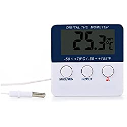 SODIAL(R) Digital indoor outdoor thermometer Gauge Alarm Aquarium Fish tank thermometer White and blue