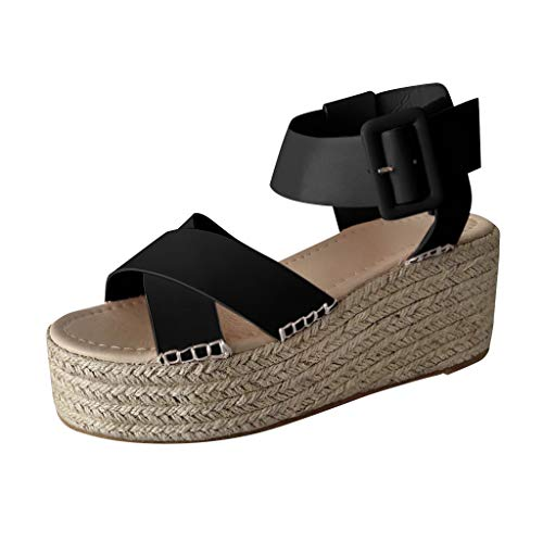 Women's Gladiator Sandals - Byyong Ladies Fashion Solid Wedges Buckle Strap Roman Sandals Casual Outdoor Beach Shoes(US:10, Black)