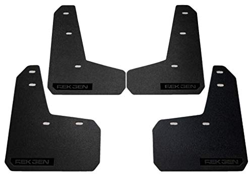Products Mud Logo Guards - Rek Gen Rally Mud Flaps Compatible w/Ford Focus 11+ (Black Logo)