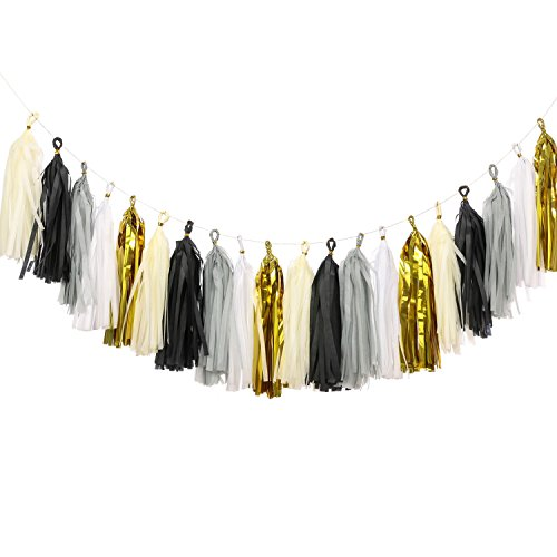Ling's moment 20pcs Tassel Garland Banner Tissue Paper Tassels for Wedding, Baby Shower, Event & Party Supplies, DIY Kits - (Metallic - Diy Party Supplies