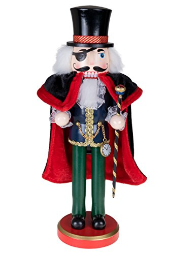 - Herr Drosselmeier Noble Nutcracker Top Hat & Eye Patch | Traditional Christmas Decor | Cane & Pocket Watch | Black & Red Cape | Perfect for Shelves & Tables | 100% Wood | 14