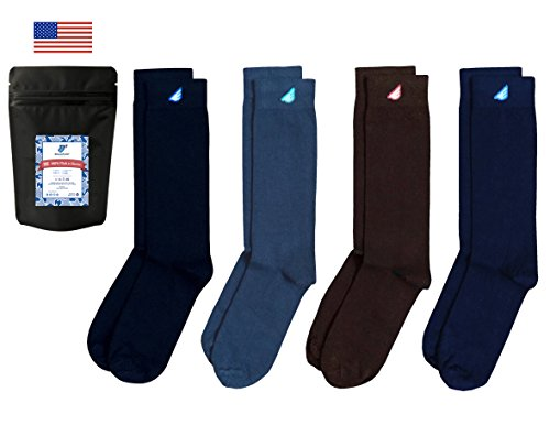 Boldfoot Socks - Mens Cotton Premium Quality Solid Color Dress Socks Gift 4-Pack, Made in America (4 Pairs, Variety Pack)