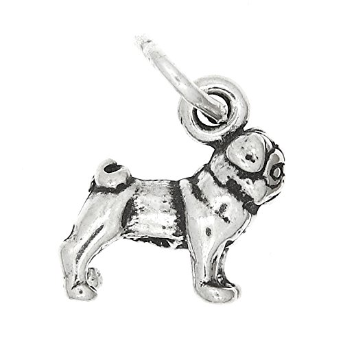 (Sterling Silver Oxidized Tiny Chinese Pug Dog Charm or Pendant)