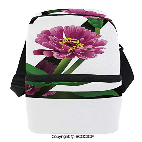 SCOCICI Thermal Insulation Bag Purple Zinnia Petals Stems Leaves and Letter Z Nature Inspired Alphabet Decorative Lunch Bag Organizer for Women Men Girls Work School Office Outdoor
