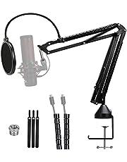 Quadcast Mic Arm with Pop Filter - Professional Adjustable Scissor Microphone Boom Arm Compatible with Hyperx Quadcast S Microphone by YOUSHARES