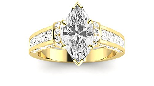 14K Yellow Gold 1.4 CTW Contemporary Channel Set Princess And Pave Round Cut Diamond Engagement Ring w/0.5 Ct Marquise Cut G Color VVS2 Clarity Center -