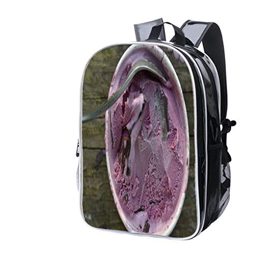 High-end Custom Laptop Backpack-Leisure Travel Backpack Black Raspberry ice Cream with Chocolate Chunks Water Resistant-Anti Theft - Durable -Ultralight- Classic-School-Black