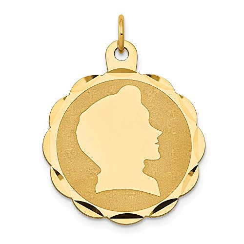 (14K Yellow Gold Boy Head on .013 Gauge Engravable Scalloped Disc Charm)