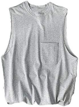 Candiyer Men Sleeveless Pure Color Scoop Neck Loose 100% Heavy Cotton Tank Top Vest