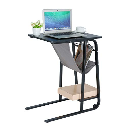 AckfulHeight-Adjustable Sofa Side Table Wheel Mobile Computer Desk with Storage Basket Snack Table