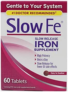 Slow Fe, High Potency Iron 45 mg, Slow Release - 60 Tablets