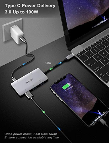 USB C Hub 7MAGIC 5-in-1 USB C to 4K HDMI Adapter with 100W Power Delivery, 3 USB3.0 Ports for MacBook Pro 2016/2017, ChromeBook, PixeBook, XPS and More by 7MAGIC (Image #2)