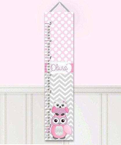 Canvas GROWTH CHART Pink Gray Owl Zig Zag Chevron Girls Bedroom Baby Nursery Wall Art GC0021 Zig Zag Chart