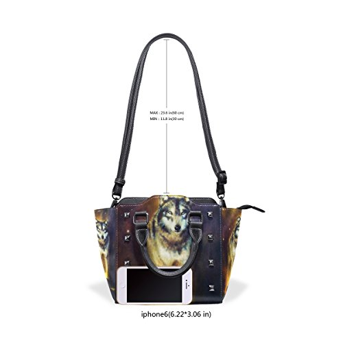 Handbags Cosmical Mighty Portrait Handle Walking PU Wolf Leather Top TIZORAX Shoulder Painting Light Women's From Bags xqSE85w