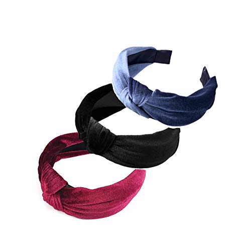 Pack of 3 Women and Girls Handmade Lovely Style Velvet cloth Cross Knot Hair Hoop Hairband Headband Headwear Hair Accessories by Beauty Hair (A(3pcs))